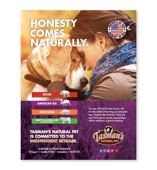 Tasman's Natural Pet Advertising